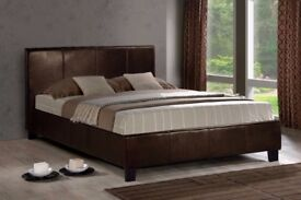 --CHEAPEST PRICE OFFERED-- BRAND NEW DOUBLE LEATHER BED WITH DEEP QUILTED SEMI ORTHOPEDIC MATTRESS