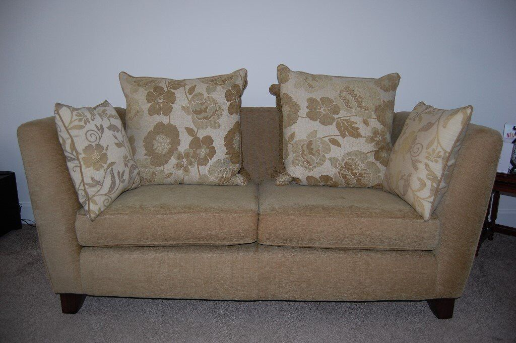 Olive Green 2 Seater Sofa With Ter Cushion Back