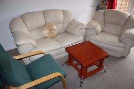 Sofa set with arm chair and center table £40
