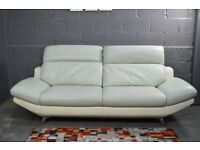EX DISPLAY furniture village Hooper 3 Seater Real Premium leather( 2 Tone Colour Set) light grey