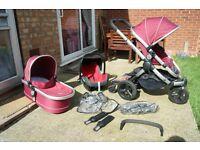 icandy peach full set + maxi cosi car seat + lascal buggy board FULL SYSTEM pram 250£ONO