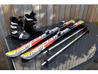 Skis, Bindings, Boots and Poles - 130cm kids - never used, as new