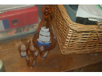 Vintage pink French glass ship small decanter glass stopper & 5 glasses