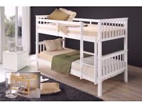 ★★ SUPERB WHITE AND PINE FINISH ★★ BRAND NEW SINGLE WHITE WOODEN BUNK BED -- WHITE AND PINE COLOURS