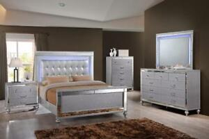 QUEEN BEDROOM SET WITH LED LIGHTS SALE TORONTO| CALL -905-451-8999 (GL74)