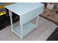 solid oak drop leaf table barley twist legs up cycled shabby chic duck egg blue chalk paint