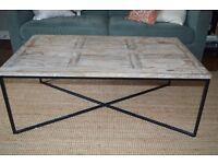 Industrial Wood Coffee Table with Iron Frame