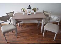 Shabby Chic Farmhouse Solid Pine Dining Table with 4 Wooden Chairs