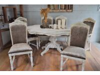 Shabby Chic Distressed Italian Dining Table & 6 Chairs Champagne Velvet