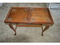 Antique ornate folding table with removable tray insets