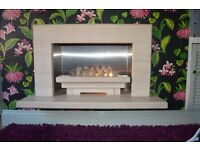 MODERN FIREPLACE , ELECTRIC FIRE , NATURAL SANDSTONE FIREPLACE