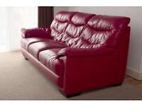 Real Leather Red 3 seater sofa