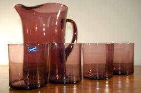 Mid century vintage retro glass jug + 4 tumblers