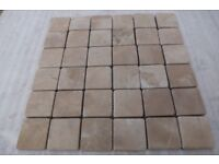 Apollo Beige Tumbled Marble Mosaic Tiles - Bathroom - 50mm x 50mm