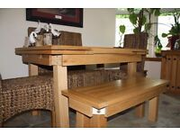 Solid Oak Extending Dining Table + 4 High Back Grass Chairs + Natural Solid Oak Bench