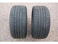 2 x Bridgestone Potenza Tyres Runflat 255 40 17 R17 5-6mm