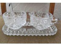 STUNNING CUT GLASS TRAY, MILK JUG & SUGAR BOWL