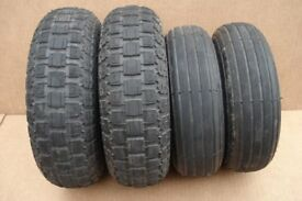 4 X Mobility scooter tyres - 300 x 4 (260 x 85) and 410/350 x 5 - Freerider City Ranger 6 - 8