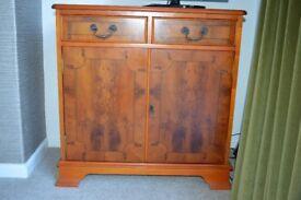 Yew veneer small cabinet/cupboard