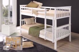 WHITE WOODEN BUNK BED - SINGLE TOP + SINGLE BOTTOM + LUXURY MEMORY FOAM ORTHOPAEDIC MATTRESSES