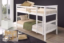 TOP QUALITY BRAND! BRAND NEW WHITE OR HONEY PINE WOODEN BUNK BED WITH WIDE RANGE OF MATTRESS OPTION