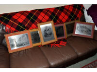 6 x Old Edinburgh engravings steel reproduction mounted pictures