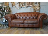 Chesterfield 3 Seater Vintage Leather Sofa Couch Settle Brown