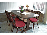 Vintage Ercol Dining Table and chairs for sale.