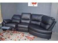 EX DISPLAY ARGOS Sorrento Leather Recline Right Corner Sofa -Black,white ,Brown