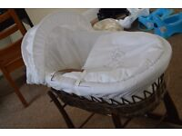 Unisex Moses Basket with mattress and sheets