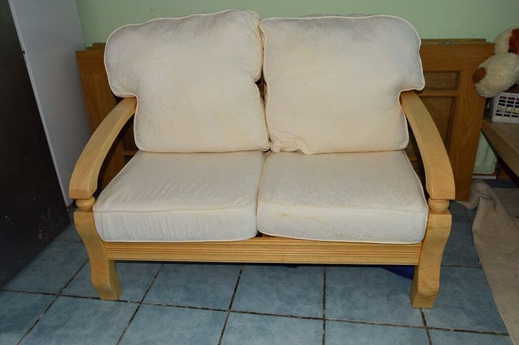 Free Ikea 2 Seater Sofa Settee Couch Light Wood Pine Or Beech Arms Frame Cream
