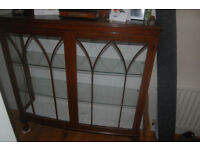 vintage wooden china cabinet with glass shelves , key and internal bolt.