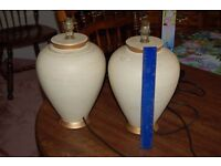 2 CERAMIC TABLE LAMPS ABOUT 12 INCHES TALL AS PHOTO