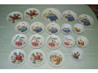 Portmeirion 'Pomona' Plates, Serving Bowls & Storage Jar, 1982 by Sarah Williams, Mostly As New