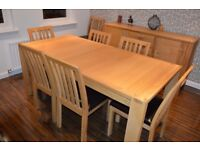 John Lewis (Monterey range) solid oak extending dining table, 8 chairs and sideboard
