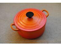 Le Creuset Cast Iron Round Casserole Dish 18cm, Volcanic Orange!
