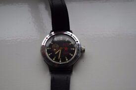Wostock manual wind Amphibia mechanical wristwatch - cal 2416 - CCCP - KGB