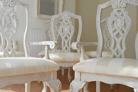 !!! WOW !!! *** UNIQUE & BEAUTIFUL *** Luxury French Shabby Chic Antique Dining Table & Six Chairs