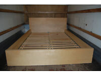 IKEA MALM / double bed frame / White stained oak veneer