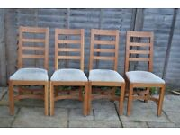 4 Solid Oak Dining Chairs