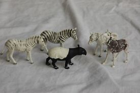 Vintage Britains Zoo Animals, Zebra, okapi and tapir