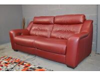 EX DISPLAY HALCYON SOFA 3 SEATER DARK RED ELECTRIC RECLINER REAL LEATHER SOFA