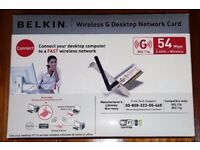 Belkin Wireless G Desktop Network Card - PCI Model: F5D7000UK 54Mbps