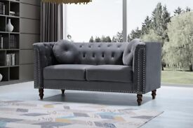 🎉Sale On Furniture🎉 -Plush Velvet Florence Sofa- 3+2 Seater Set-In Grey Colors Only-Call Now