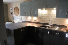 Fitted Kitchen 3 Years Old VGC Gloss Units Grey Duck Egg Blue