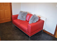 Dark Red Leather 2 Seater Sofa couch
