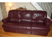 Leather 3 seater recliner sofa and recliner armchair
