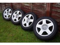 "16"" Audi Sport S-Line Alloys Wheels ( 4x tires 205/55/16 ) PCD 5x112 A4 Golf Passat Skoda"