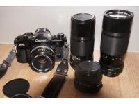 Canon A1 35mm film SLR + lenses