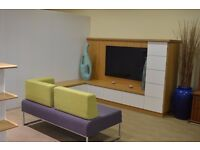 TV Display unit in oak with contrasting white.